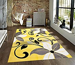 T1014 Yellow Gray White 5\'2 x 7\'2 Floral Oriental Area Rug Carpet