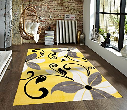 T1014 Yellow Gray White 7'10 x 10'2 Floral Oriental Area Rug Carpet