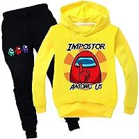 JDSWAN Unisex Niños Among Us Impostor Impresión Sudaderas con Capucha y Pantalones 2 Piezas Conjunto Jersey Ropa…