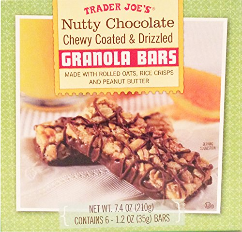 Trader Joes Nutty Chocolate Chewy Coated & Drizzled Granola Bars w/ Rolled Oats, Rice Crisps & Peanut Butter