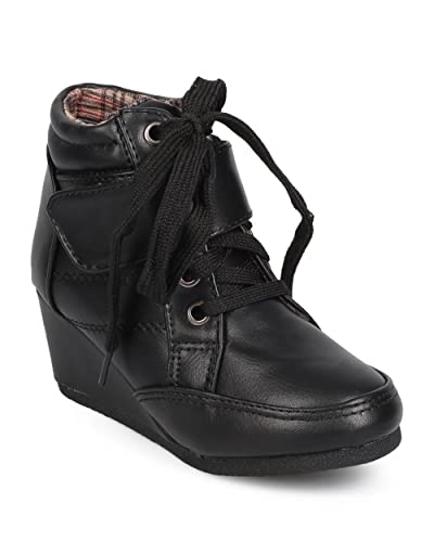 3291f26cc403 Link EA20 Leatherette Round Toe High Top Velcro Wedge Sneaker (Toddler  Little  Girl