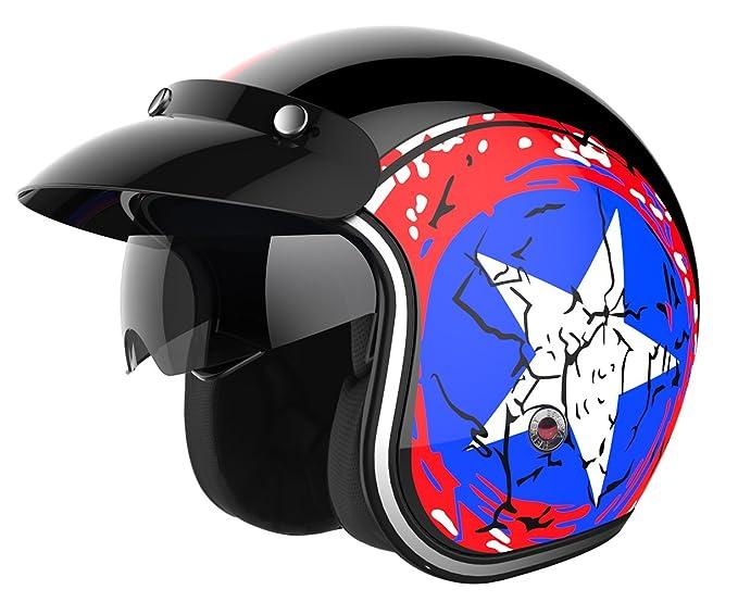 Amazon.com: Motorcycle Open Face Helmet DOT Approved - YEMA YM-629 Motorbike Moped Jet Vespa Bobber Chopper Pilot Crash 3/4 Helmet with Sun Visor for Men ...