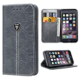 iPhone 6 Plus Case Wallet iPhone 6 Plus Flip Case Built in Kickstand Slim Magnetic Folio Cover Leather Protective Case (Grey)