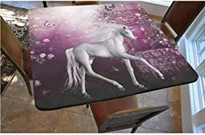 Fantasy Decor Polyester Fitted Tablecloth,Unicorn in Rose Garden Summer Flying Butterflies Romance Fairy Tail Themed Art Decorative Square Elastic Edge Fitted Table Cover,Fits Square Tables 36x36 Pin