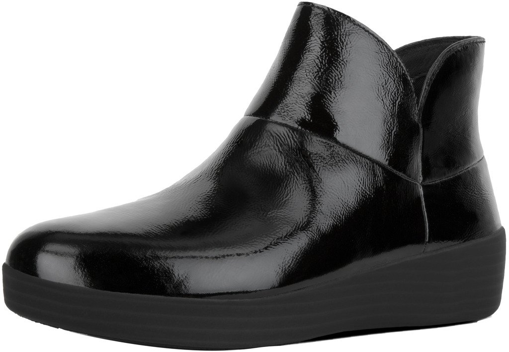 FitFlop Trade; Supermod™ II Crinkle-Patent Ankle Boots Black Patent Size 6