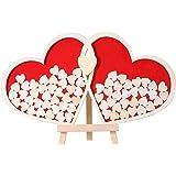 Homemaxs Hochzeit Gästebuch Alternative Schild aus Holz Rahmen mit 30mm Hölzerne Herz-Form Scheiben (100 Stück) und 60mm Hölzerne Herz (2 Stück) …