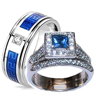 Amazoncom His Hers Blue Clear Stone Wedding Ring Set Stainless