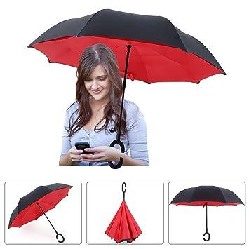 Paraguas plegable multifunción, Innovador C Forma Manos Paraguas Doble Capa a Prueba de Viento Paraguas