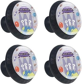 4 pomos robots de cristal para armario, 35 mm, forma de círculo ...