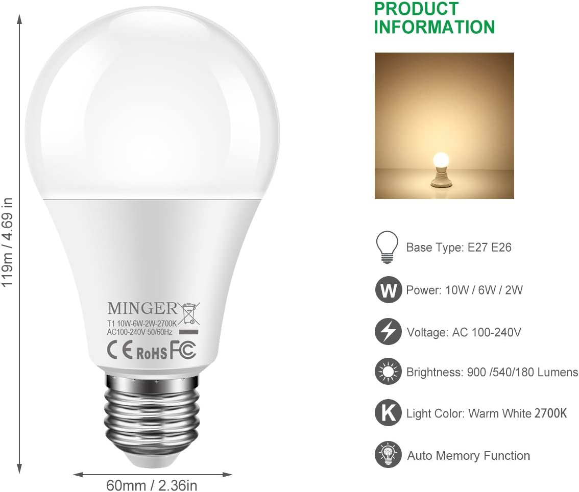 900//540//180 Lumen Work with Normal Lamp Switch 2-Pack E26//E27 3-Brightness LED Light Bulb Soft White 2700K Not 3-Way Bulbs Dimmable A19 Led Bulbs 10W//6W//2W