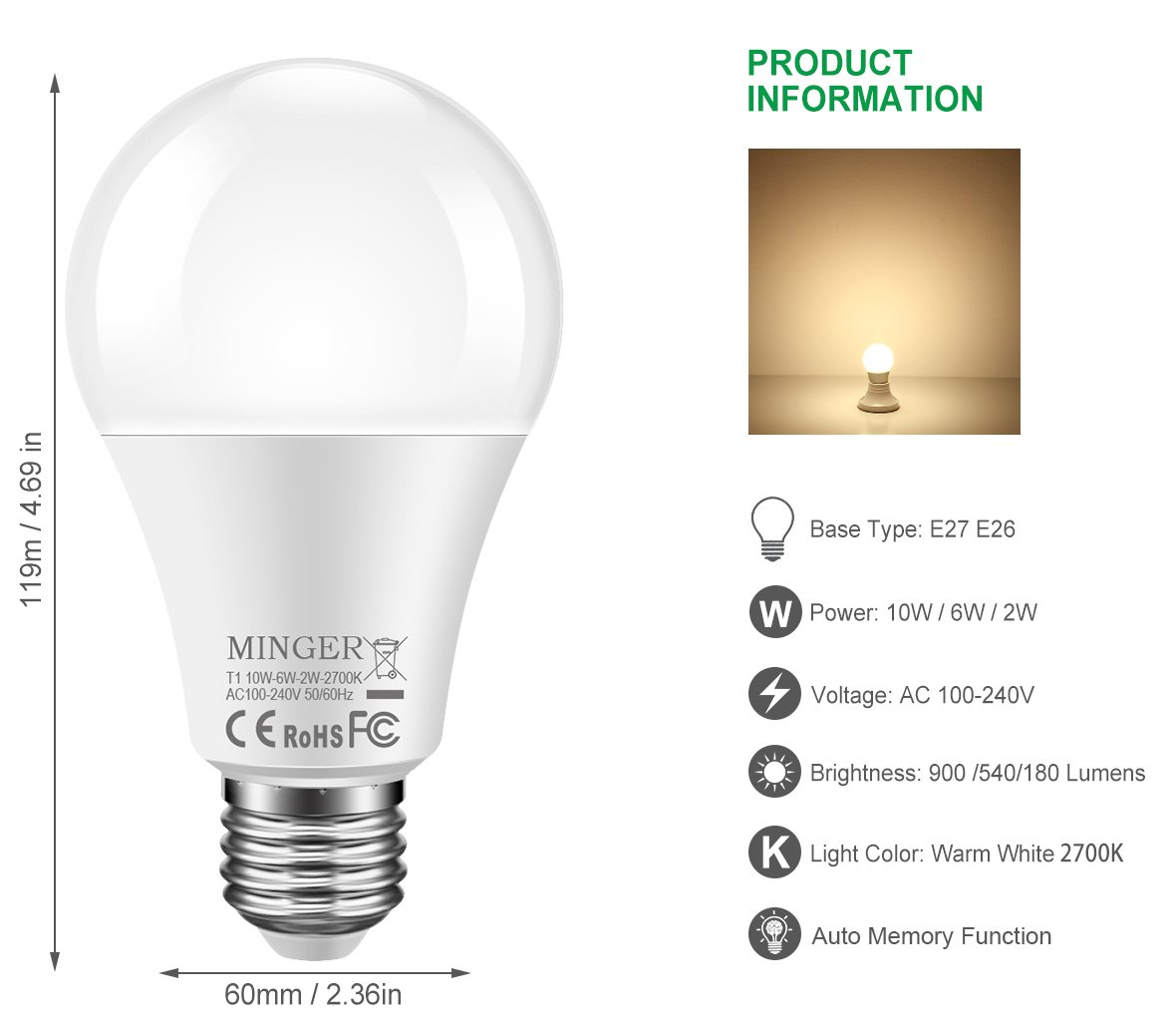 3 Brightness Led Light Bulb Work With Normal Lamp Switch Not Way Two Lightbulbs On A Parallel Circuit One Bulbs Dimmable A19 10w 6w 2w 900 540 180 Lumen Soft White 2700k