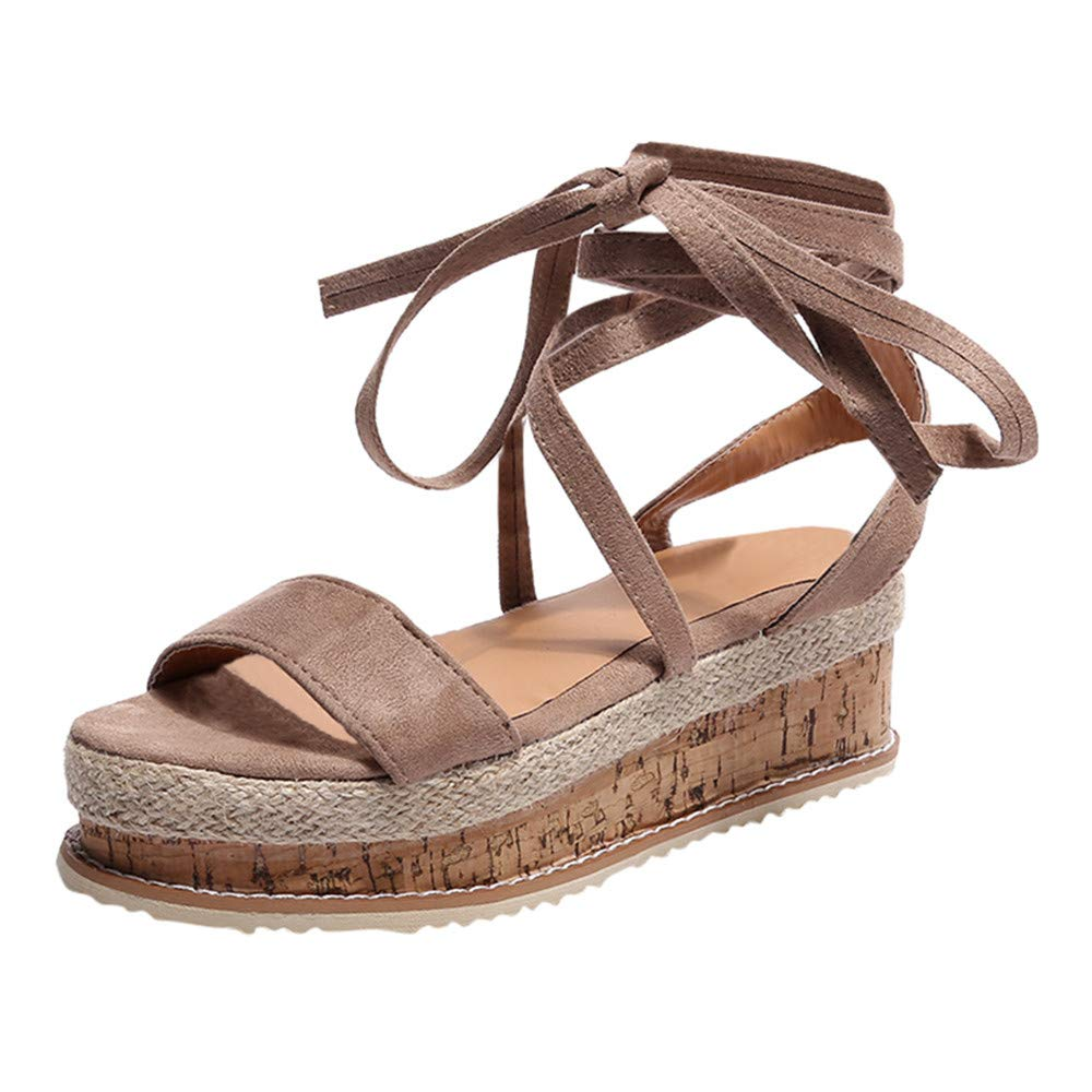 【MOHOLL】 Womens Open Toe Tie Lace Up Platform Wedges Sandals Ankle Strap Slingback Dress Shoes Brown