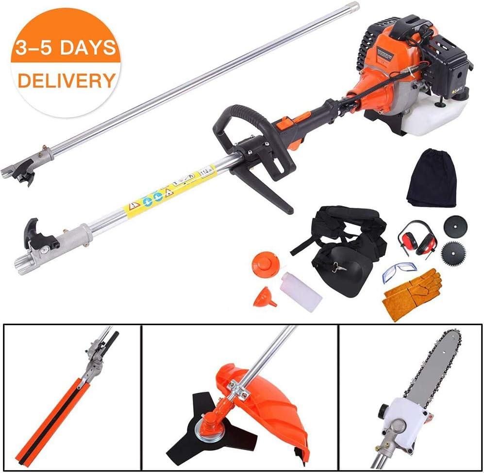 EASYG 5 en 1 52 cc multifuncional para cortacésped de gasolina, valla electromecánica, sierra de cepillo, sierra con orejeras y guantes de seguridad