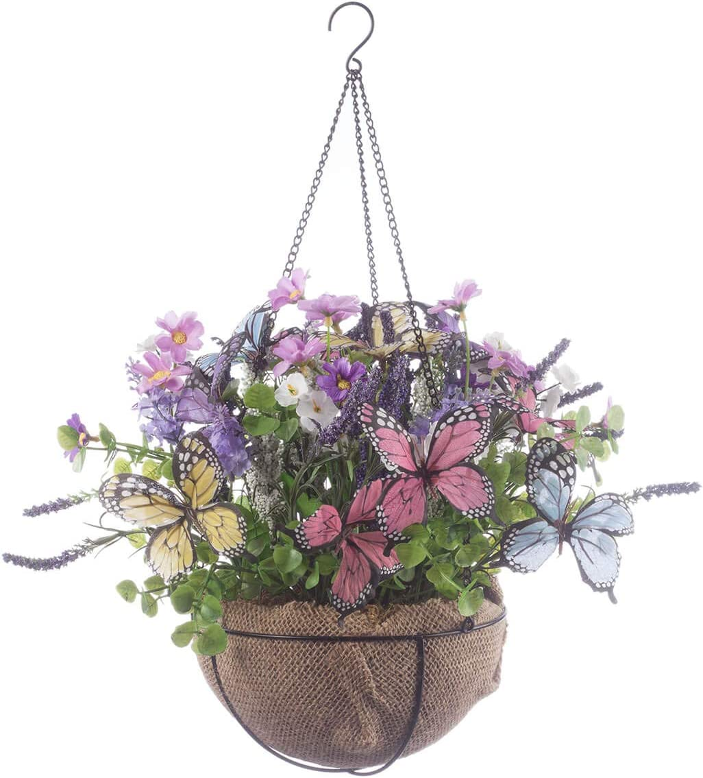 Fox Valley Trader Oakridge Mini Fully Assembled Butterflies Floral Hanging Basket, 8 Diameter with 12 Long Chain Artificial Floral Home D cor Accent Indoor Outdoor Use
