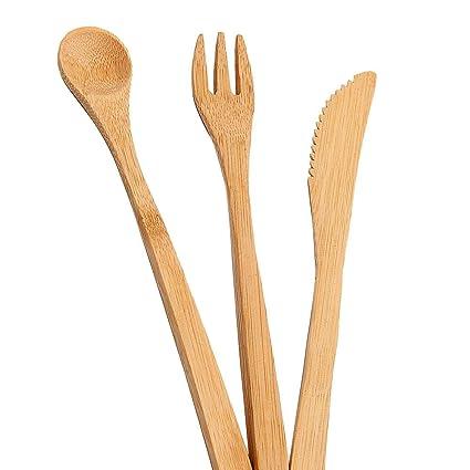 iStary 3PCS Utensilios Cocina de Silicona Juego de Cubiertos de bambú de Madera de Estilo japonés