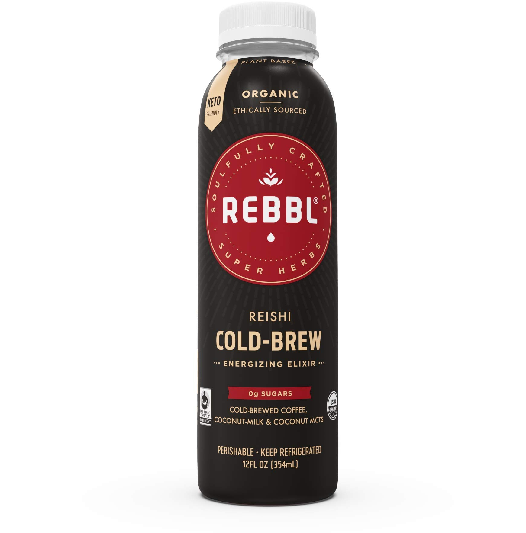 REBBL Super Herb Powered Elixirs | Reishi Cold Brew Coffee Elixir 12 Pack | 12 Fl Oz | Gluten Free, Organic, Non GMO, Vegan | 200mg 70% B-Glucan Reishi Extract, 7g Coconut MCTs