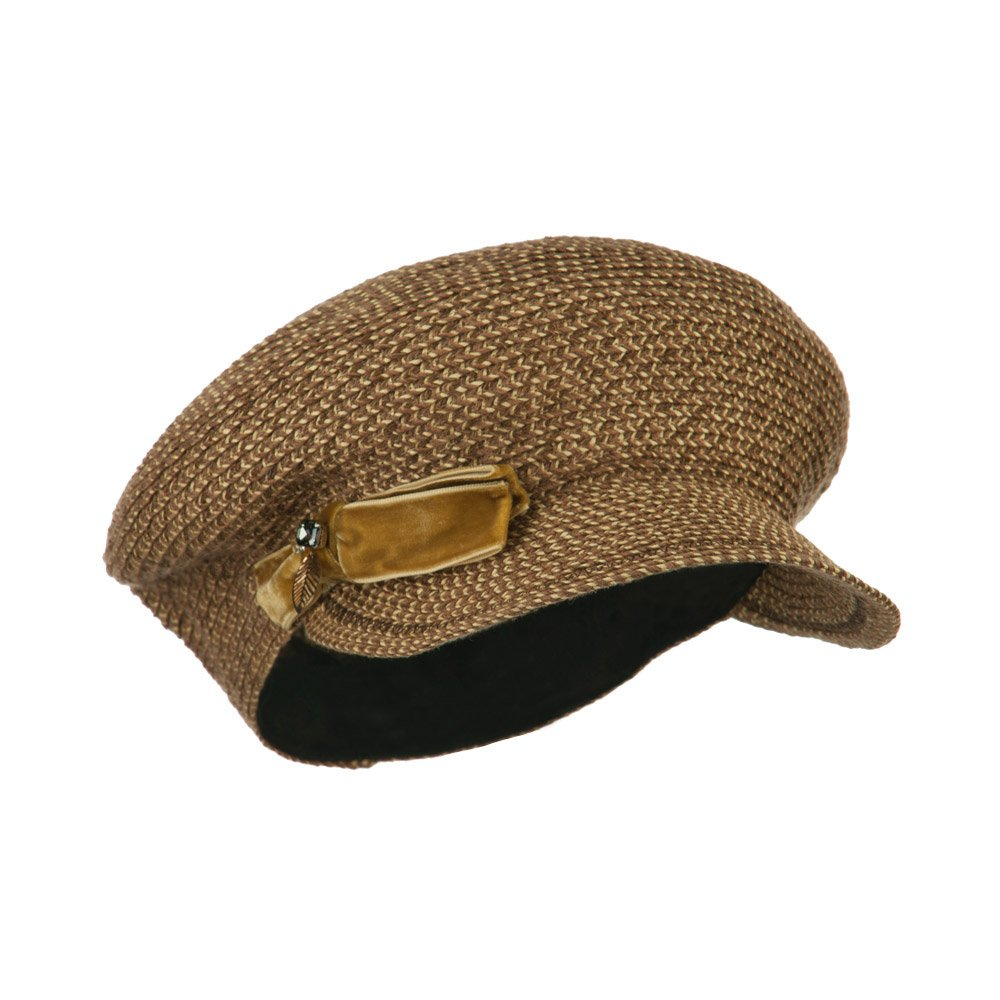 Women's Paper Braid Newsboy Hat with Velvet Bow Trim - Brown OSFM