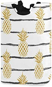 Baofu Pineapple Laundry Hamper Large Dirty Foldable Clothes Bags Waterproof Durable Lightweight Oxford Round Collapsible Storage Basket Organization with Handles for Home Bathroom Bedroom