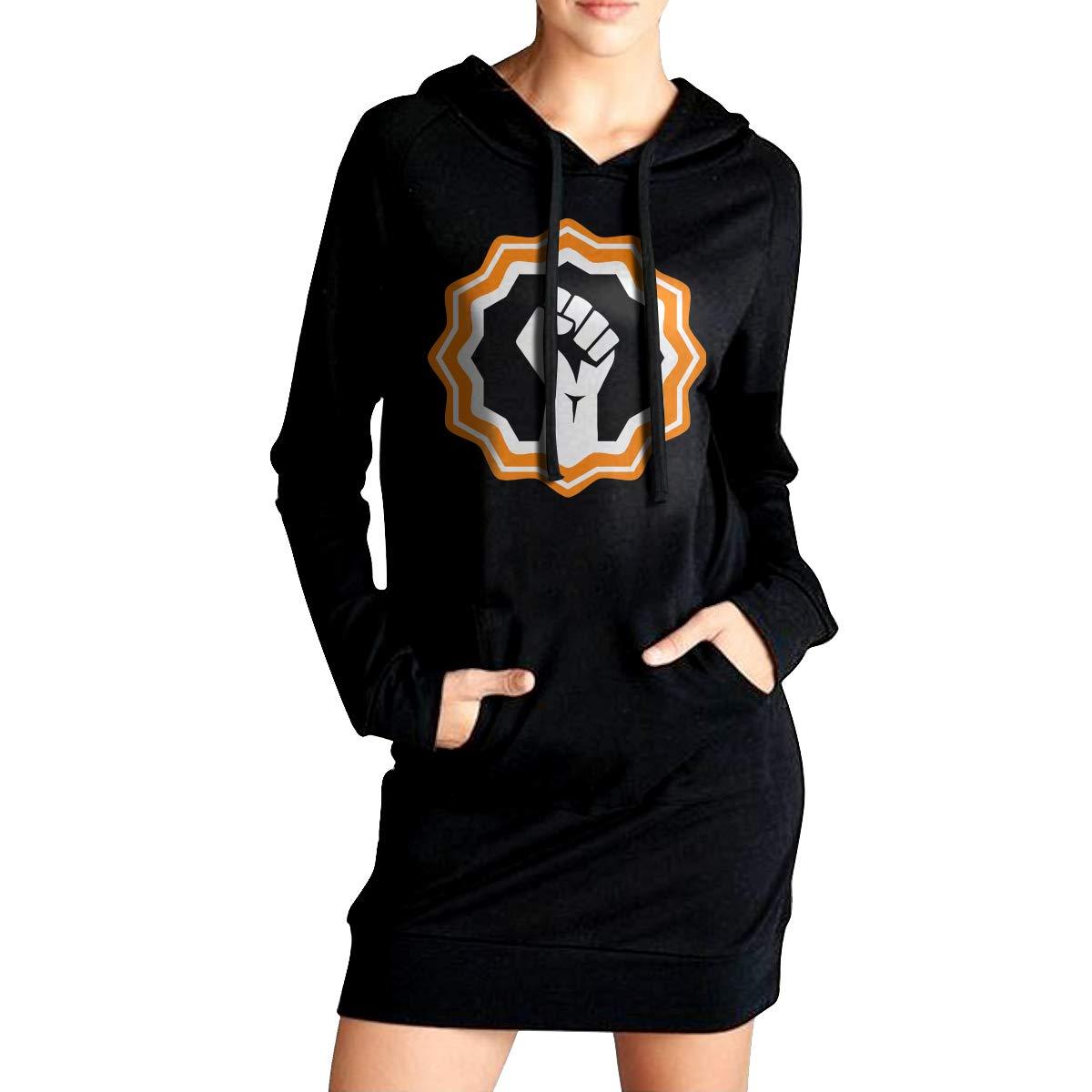 Northern Nebula Raised Fist Womens Long Sleeve Hoodie Tunic Dress Solid Pullover Loose Sweatshirt Long Tops