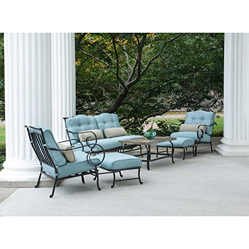 Hanover Oceana Ocean Blue with a Stone-top Coffee Table, OCEANA6PC Outdoor 6-Piece Patio Set