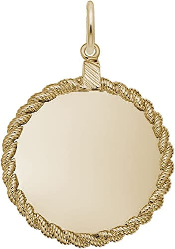 Charms for Bracelets and Necklaces 10k Yellow Gold Disc Charm
