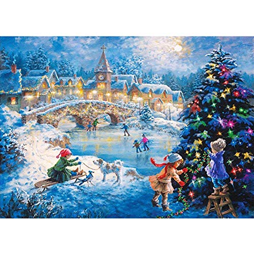 UPMALL DIY 5D Diamond Painting by Number Kits, Full Drill Crystal Rhinestone Embroidery Pictures Arts Craft for Home Wall Decoration Christmas Scene 15.7×11.8 Inches (Christmas Scenes Pictures)