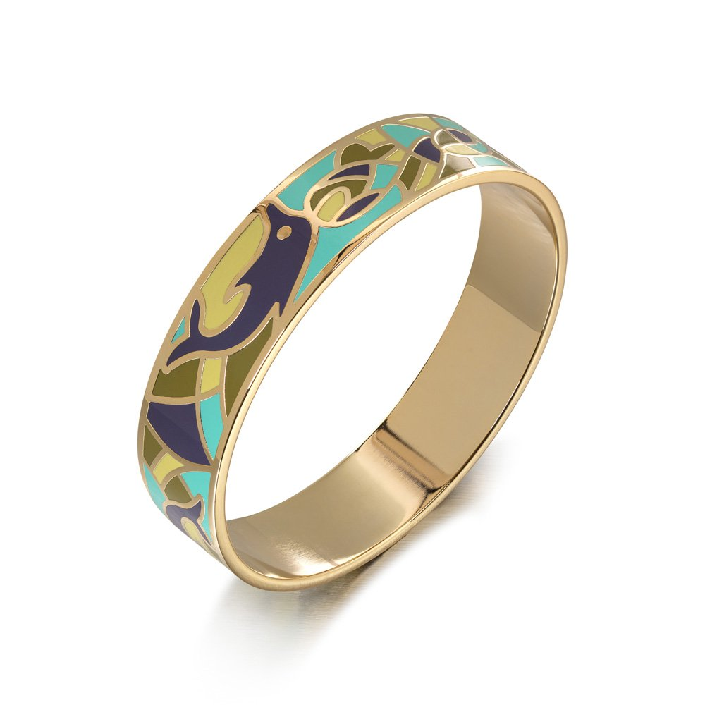 Avery and May Single Stackable Summer Boho Two Tone Wide Dolphin Enamel Bangle Bracelet for Her, Turquoise & Gold