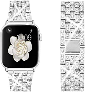 Dsytom Bing Band Compatible with Apple Watch Band 38mm 40mm 42mm 44mm,Jewelry Replacement Metal Wristband Strap for iWatch Band Series 6/5/4/3/2/1/SE(Silver)