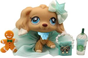 LPS Accessories Lot Clothes Bow Skirt Collar Bag Coffee Drink Food Outfit Set for lps Rare Figures Shorthair Cats and Collie Great Dane Cocker Spaniel Dogs 6 PCS (Cat Not Included)