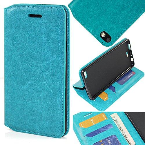 BLU Vivo Air LTE Case, BLU Vivo Air LTE Wallet Case, SOGA® [Pocketbook Series] PU Leather Folio Flip Wallet Case for BLU Vivo Air LTE V0000UU - Luxury Turquoise / Black