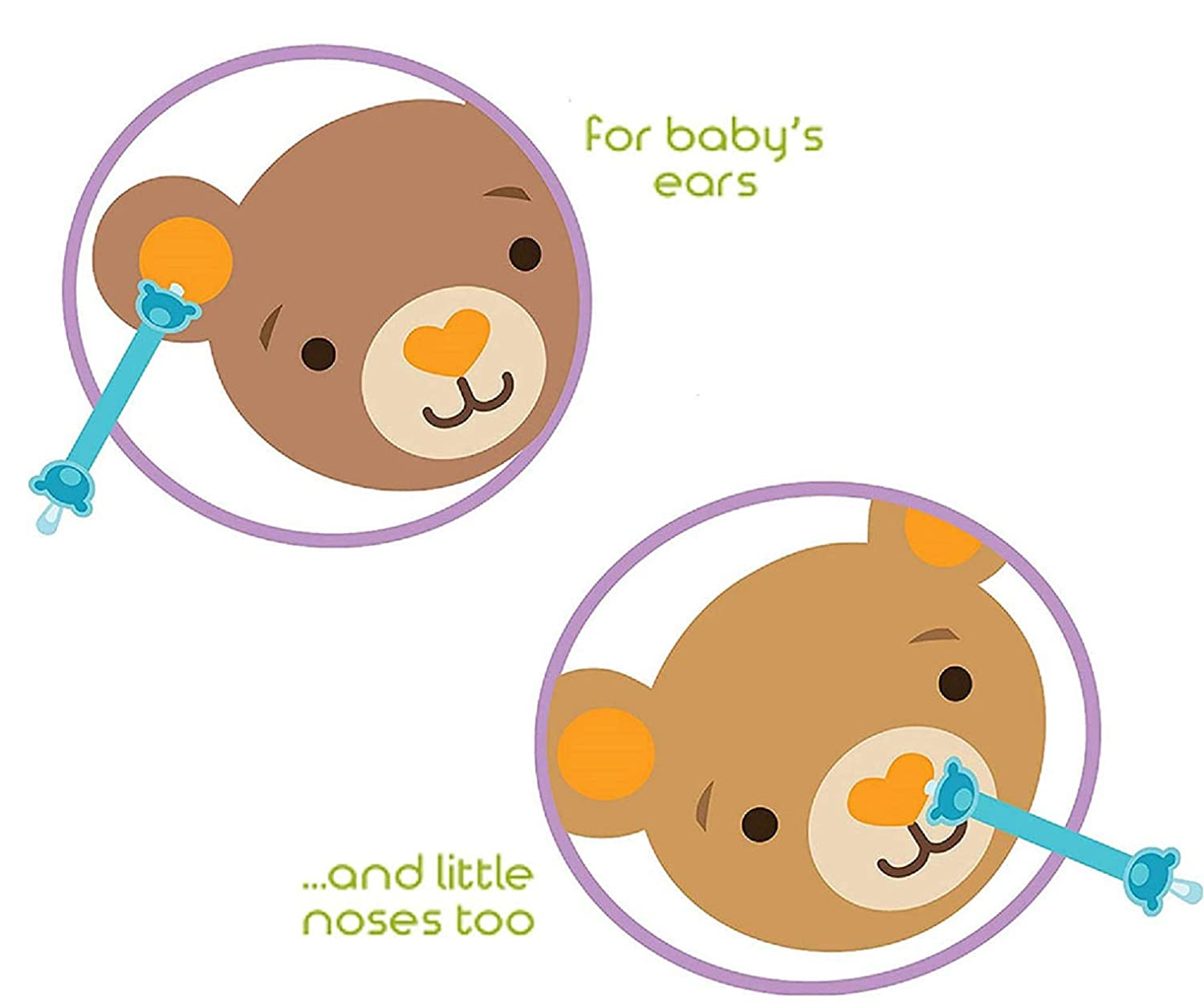 Oogiebear - The Safe Baby Nasal Booger and Ear Cleaner - Baby Shower Gift and Registry Essential Snot Removal Tool, Blue Two Pack