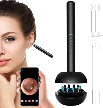 Black WiFi Ear Wax Removal Tool,with 6 LED Light Otoscope 1080P HD Digital Endoscope ,Compatible iOS Android Phone Tablet,for Ear Inspection for Adults Kids and Pet BEBIRD Ear Camera Ear Cleaner