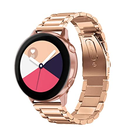 SPGUARD Compatible con Correa Samsung Galaxy Watch Active 40mm,Pulsera Galaxy Watch Active,Brazalete de Repuesto de Metal Sólido de Acero Inoxidable ...