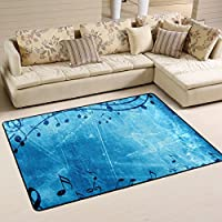 LORVIES Music Blue Background Area Rug Carpet Non-Slip Floor Mat Doormats for Living Room Bedroom 72 x 48 inches