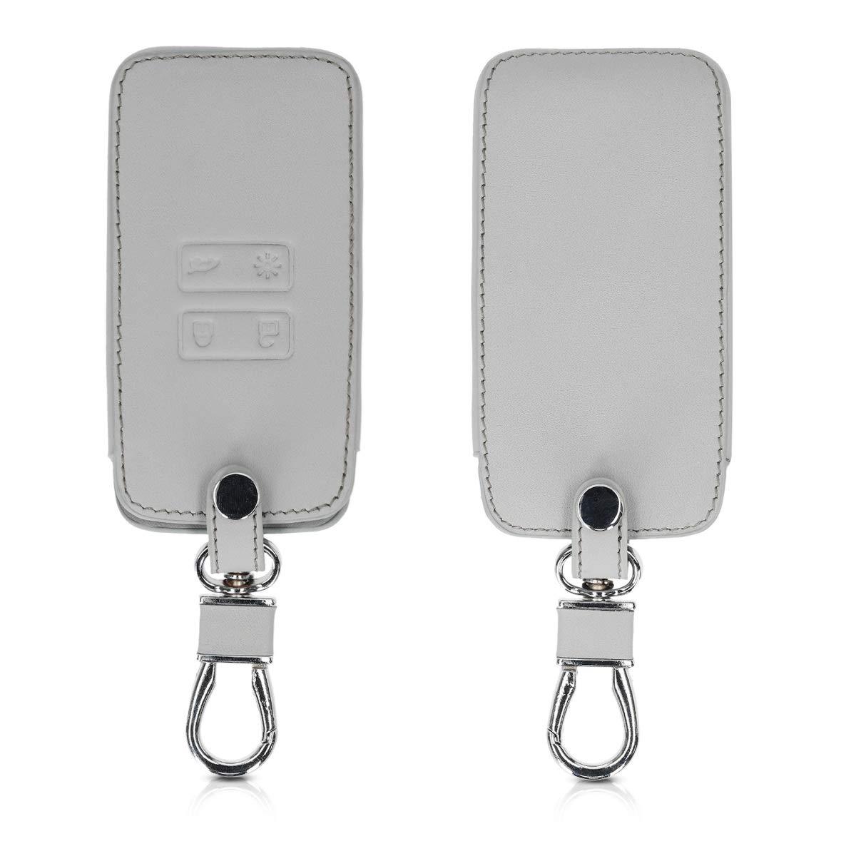 kwmobile Accessoire Clef de Voiture pour Renault - Coque de clé de Voiture en Simili Cuir pour Clef de Voiture Smart Key (Keyless Go Uniquement) Renault 4-Bouton - Blanc-Gris