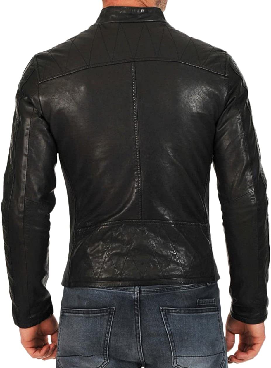 Kingdom Leather Mens Leather Jacket Slim Fit Biker Motorcycle Genuine Lambskin Jacket Coat X1411