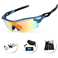 IKuaFly Cycling Glasses,Polarized Mtb Sports Sunglasses UV400 with 5 Lenes Anti-fog for Men Running Fishing Golf