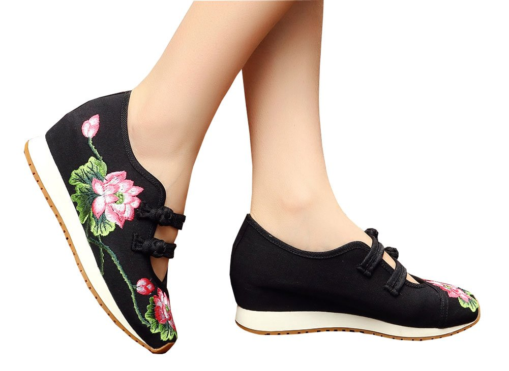 AvaCostume Womens Lotus Embroidery Casual Walking Sneakers Fashion Traveling Shoes Black 36