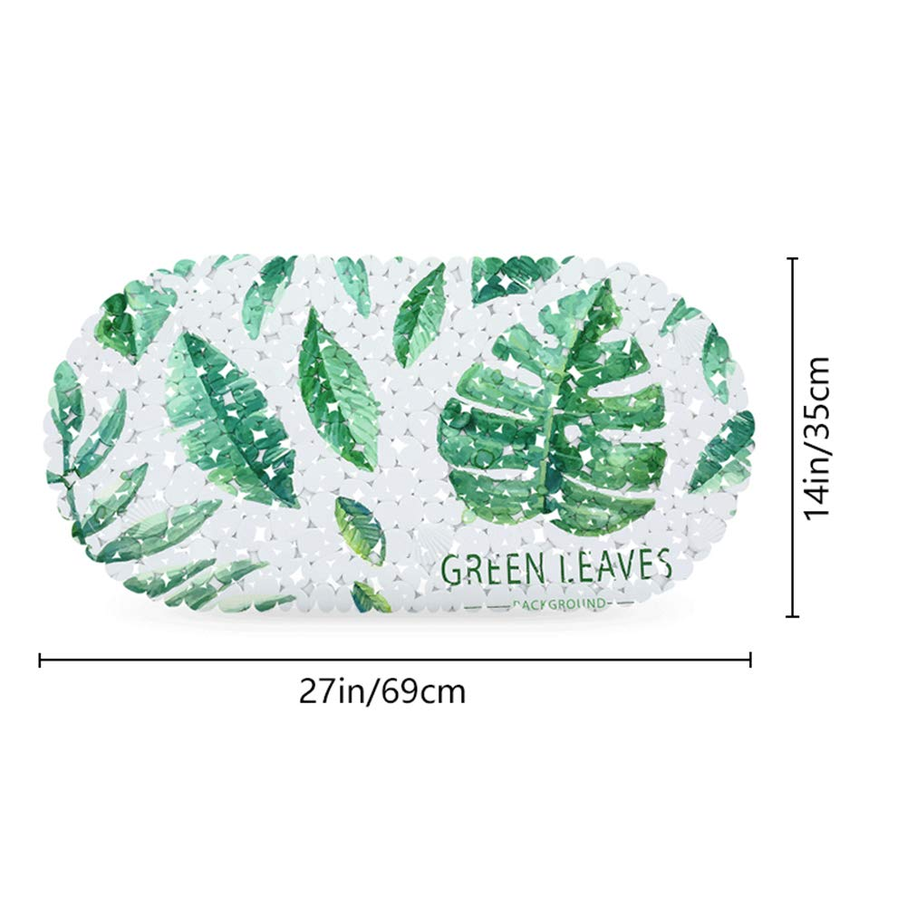 35 /× 69 cm Feuilles Vertes JOTOM Tapis de Bain Antid/érapant avec Ventouses Solides Durable et R/ésistant aux Moisissures en PVC Antid/érapant pour Salle de Bain et Douche