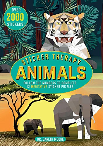 Sticker Therapy Animals: Follow the Numbers to Complete 12 Meditative Sticker Puzzles