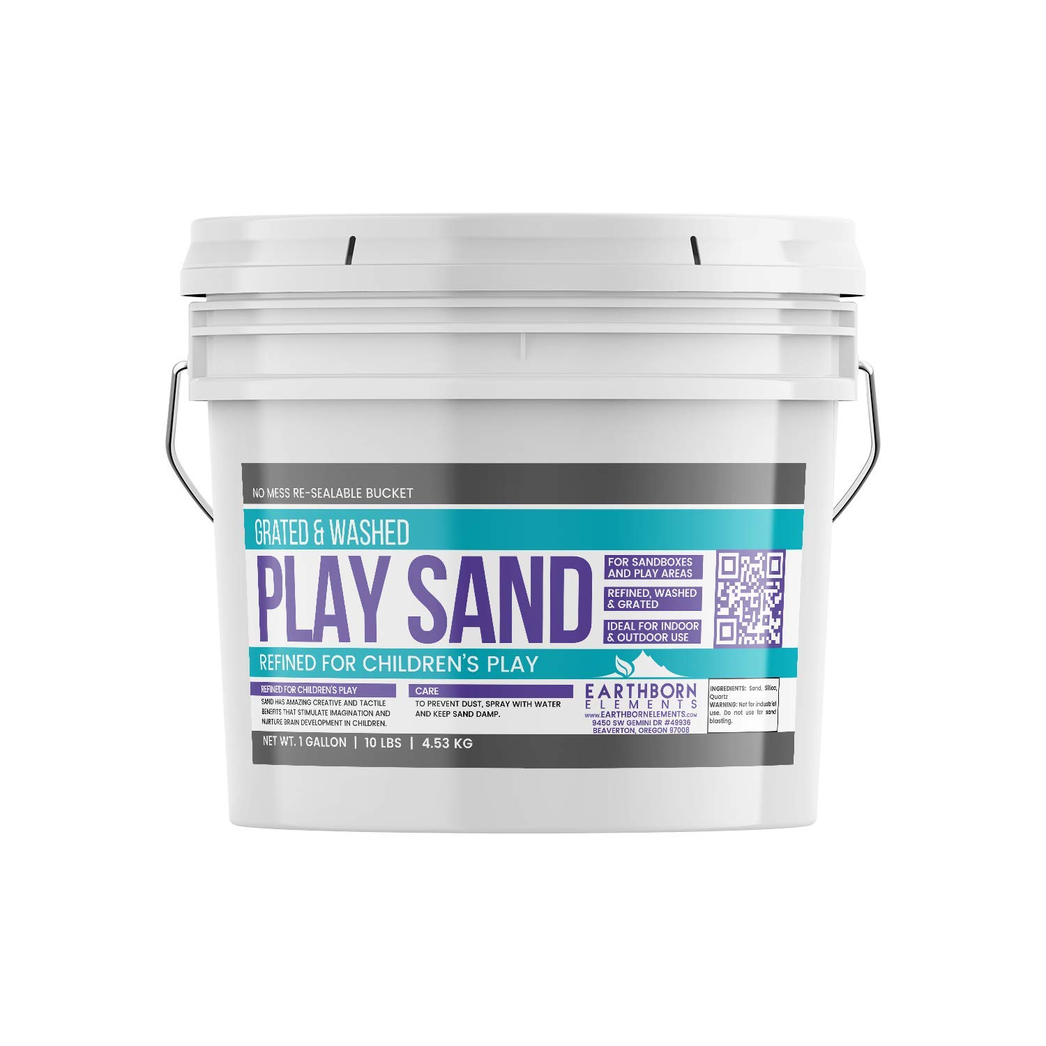 Earthborn Elements Play Sand, 1 Gallon Bucket (10 lb),, Building & Molding, Promotes Creativity, Sandbox & Play Areas, Indoor/Outdoor, Resealable Bucket by Earthborn Elements