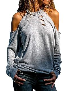 fe8b8dcd71f7c3 ShallGood Damen Langarmshirt Bluse Schulterfrei Oberteil Tops Sommer Carmen  Shirt Rollkragen Langarm Einfarbig Cut Out Loose