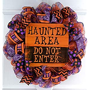 Mesh Halloween Wreath | Haunted Area Purple Orange Black Deco Mesh Outdoor Front Door Wreath 3