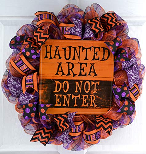Mesh Halloween Wreath | Haunted Area Purple Orange Black Deco Mesh Outdoor Front Door Wreath -
