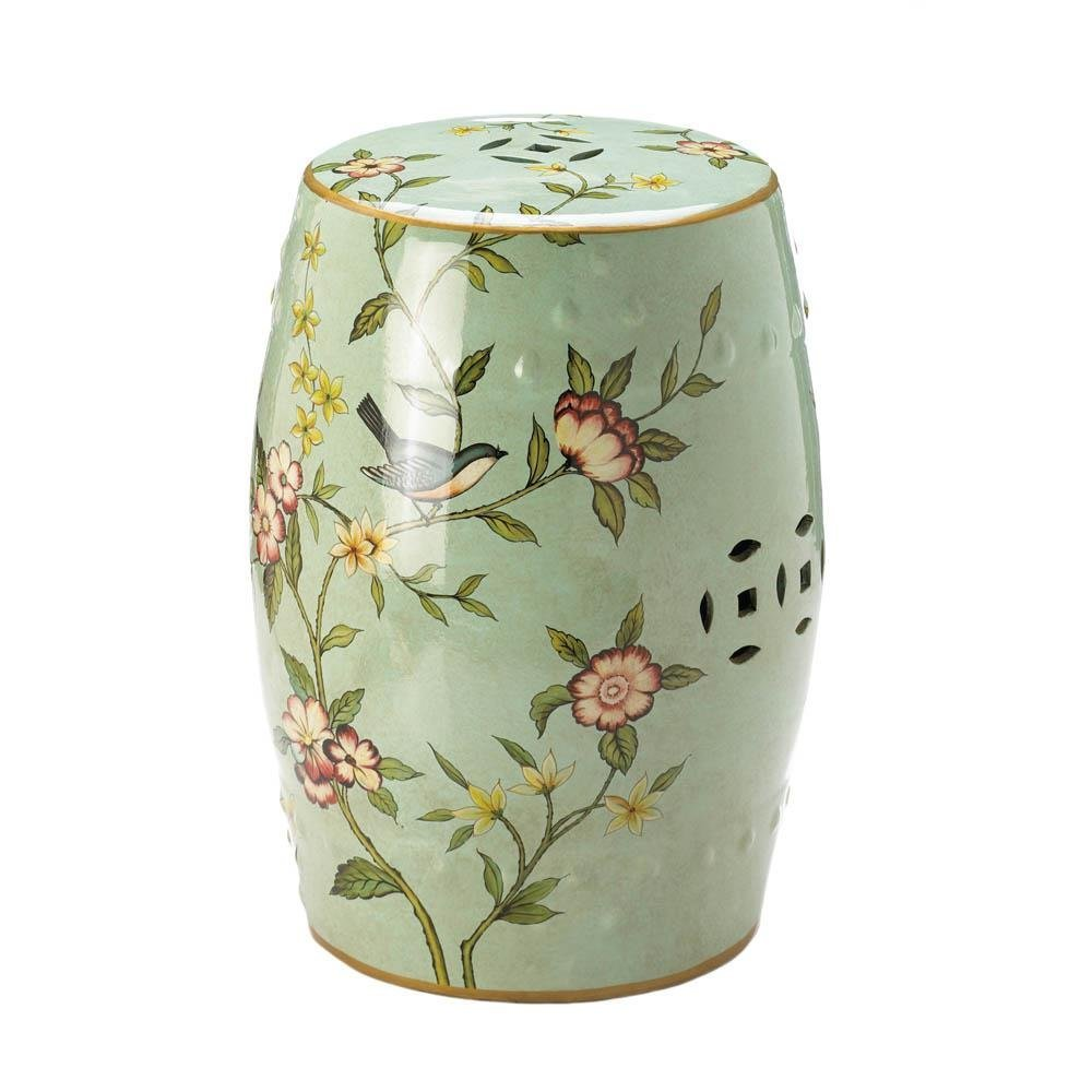 Accent Plus Garden Ceramic Stool, Patio Stools Outdoor Ceramic, Floral Garden Decorative