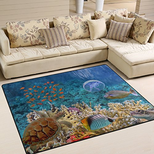 (Naanle Ocean Animal Area Rug 5'x7', Tropical Beach Sea Turle Polyester Area Rug Mat for Living Dining Dorm Room Bedroom Home Decorative )