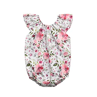 1e192a929fc2 Amazon.com  Lurryly 2018 Newborn Baby Girls Flowers Print Romper Playsuit  Jumpsuit Cute Outfit Sunsuit Clothes 0-24 Months White  Clothing