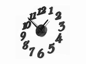 3D Reloj adhesivo, DIY Relojes de pared grande extraíble de pared Decoración de pared Reloj de Cocina Digital Negro: Amazon.es: Electrónica