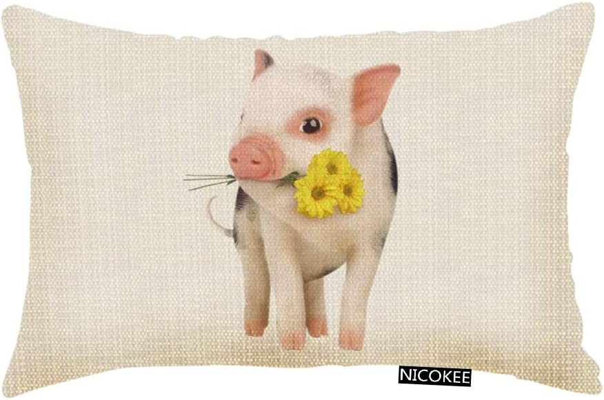 Nicokee Throw Pillow Cover Cute Pink Pet Miniature Pig Yellow Daisy Decorative Pillow Case Home Decor 20x12 Inches Pillowcase
