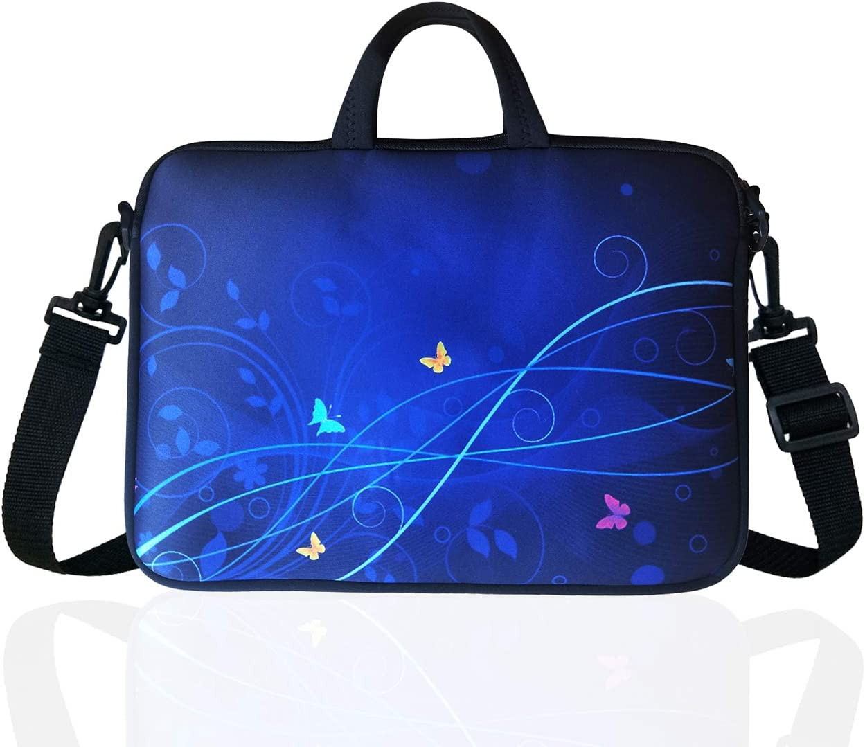 "14-Inch Neoprene Laptop Shoulder Messenger Bag Case Sleeve for 13 13.3 14 14.1"" Inch Notebook/Chromebook (Blue)"